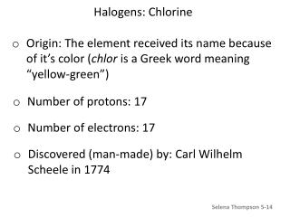 Halogens: Chlorine