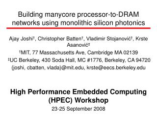 Building manycore processor-to-DRAM networks using monolithic silicon photonics