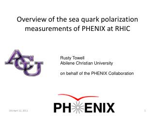 Overview of the sea quark polarization measurements of PHENIX at RHIC