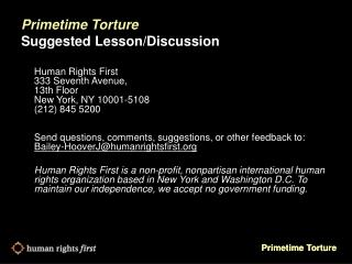 Primetime Torture Suggested Lesson/Discussion