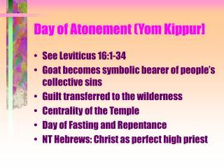 Day of Atonement (Yom Kippur]