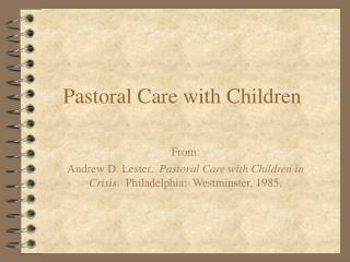 Pastoral Care with Children