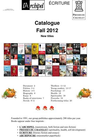 Catalogue Fall 2012 New titles