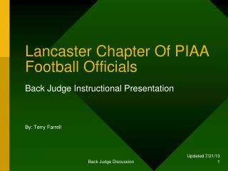 Lancaster Chapter Of PIAA Football Officials