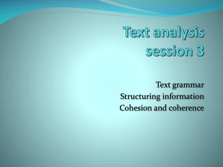 Text analysis  session 3