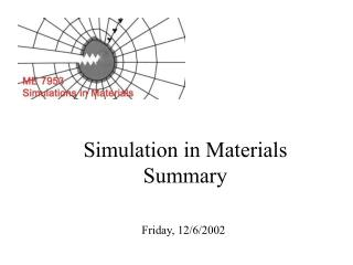 Simulation in Materials Summary