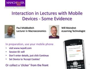 Interaction in Lectures with Mobile Devices - Some Evidence