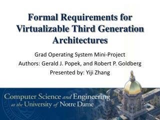 Formal  Requirements for  Virtualizable Third Generation Architectures