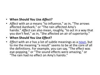 When Should You Use� Affect?