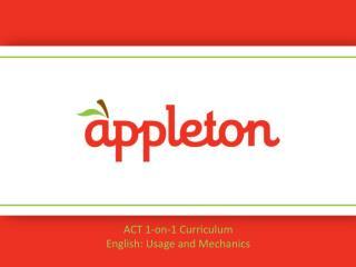 ACT 1-on-1 Curriculum English:  Usage and Mechanics
