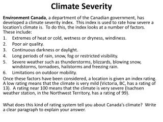 Climate Severity