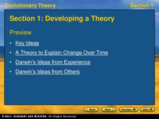 Section 1: Developing a Theory