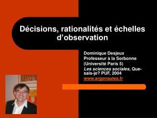 D cisions, rationalit s et  chelles d observation