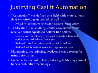 Justifying Gaslift Automation