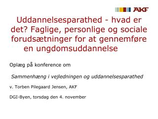 Oplæg på konference om Sammenhæng i vejledningen og uddannelsesparathed