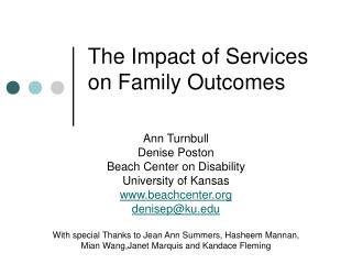 The Impact of Services on Family Outcomes