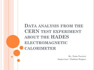 Data analysis from the CERN test experiment about the HADES electromagnetic calorimeter