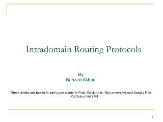 Intradomain Routing Protocols
