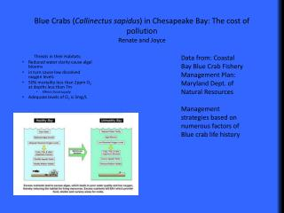 Blue Crabs ( Callinectus sapidus ) in Chesapeake Bay: The cost of pollution Renate and Joyce
