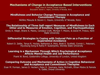 Mindfulness and Behavior Change Processes in Acceptance and Commitment Therapy