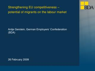 Antje Gerstein, German Employers' Confederation (BDA)