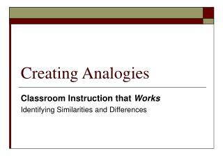 Creating Analogies
