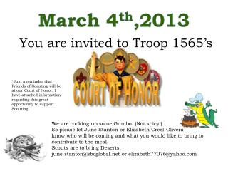 You are invited to Troop 1565�s