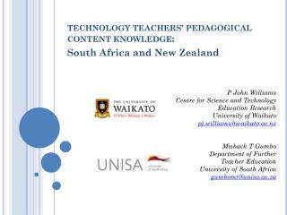 TECHNOLOGY TEACHERS' PEDAGOGICAL CONTENT KNOWLEDGE :  South Africa and New Zealand