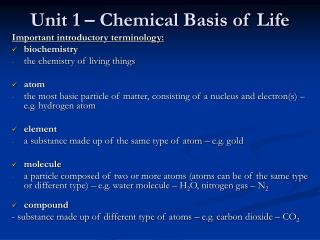 Unit 1 � Chemical Basis of Life