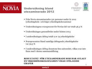 Undersökning  bland utexaminerade  2012
