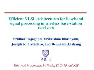 Efficient VLSI architectures for baseband signal processing in wireless base-station receivers