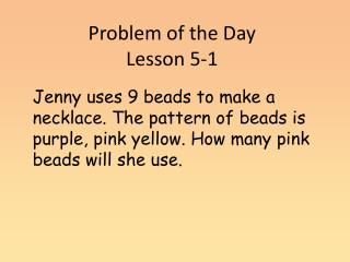 Problem of the Day  Lesson 5-1