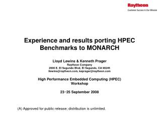 Overview of HPEC Benchmarks
