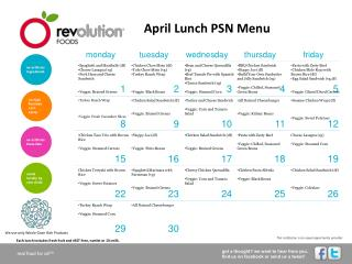 April Lunch PSN Menu