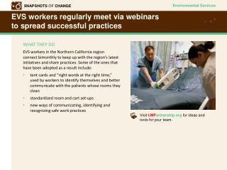 EVS workers regularly meet via webinars  to spread successful practices