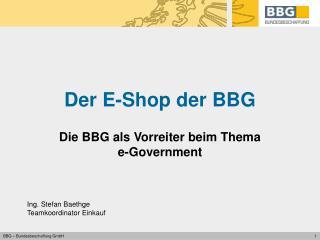 Der E-Shop der BBG