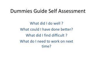 Dummies Guide Self  Assessment