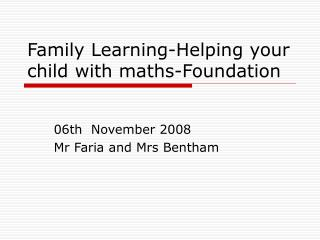 Family Learning-Helping your child with maths-Foundation