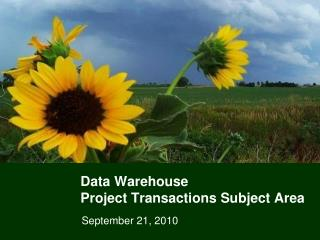 Data Warehouse  Project Transactions Subject Area