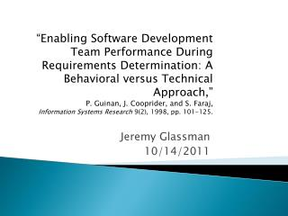 Jeremy Glassman 10/14/2011