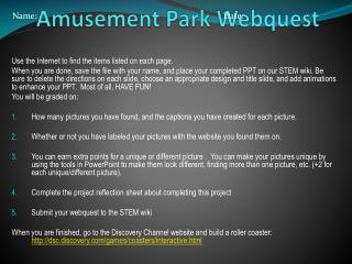 Amusement Park Webquest