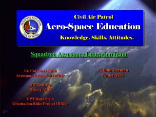 Lt. Col. Steve Stein Aerospace Education Officer 1LT Tom Tye Deputy AEO CPT Dona Stein