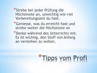 Tipps vom Profi