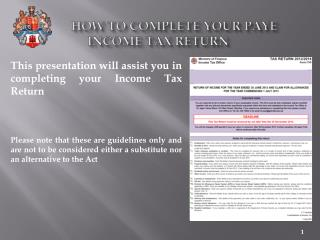 How to complete your PAYE Income Tax Return