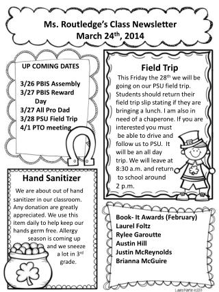 Ms. Routledge's Class Newsletter March 24 th , 2014