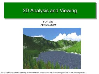 3D Analysis and Viewing