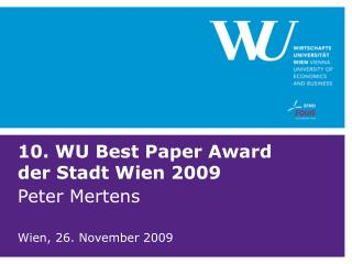 10. WU Best Paper Award der Stadt Wien 2009