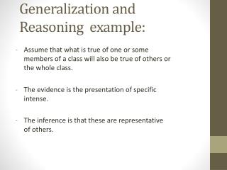 Generalization and Reasoning  example: