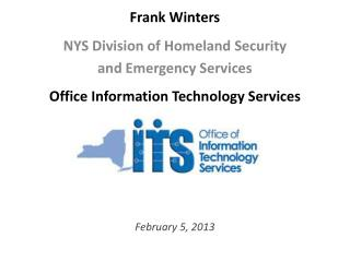 Frank  Winters NYS Division of Homeland Security  and Emergency Services