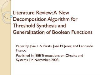 Paper by José L.  Subirats , José M. Jerez, and Leonardo Franco